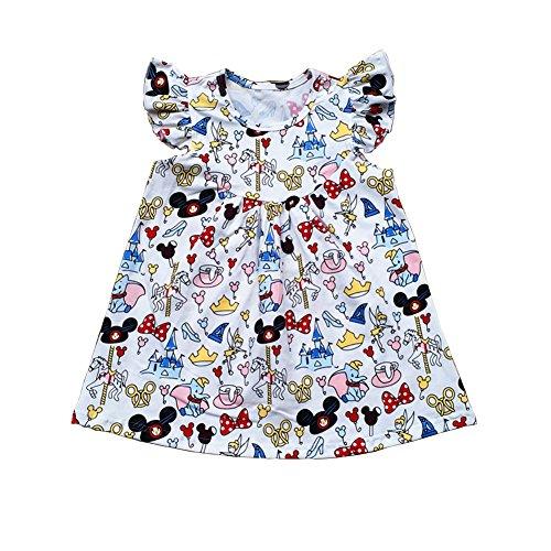 LZJLSQHYH Girls Summer Fashionable Casual Flutter Dress Children's Mickey Cotton Dress (5T) White]()