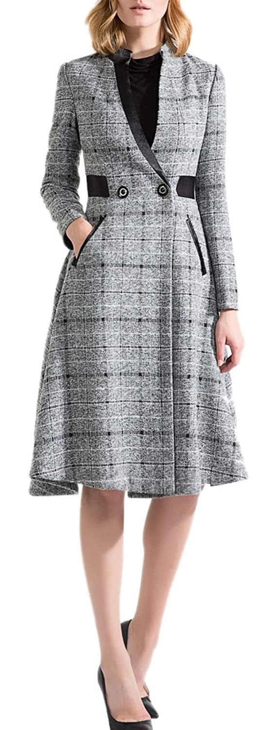 Allbebe Women's Autumn Elegant Knee length OL Plaid Wool Coat Overcoat Jacket