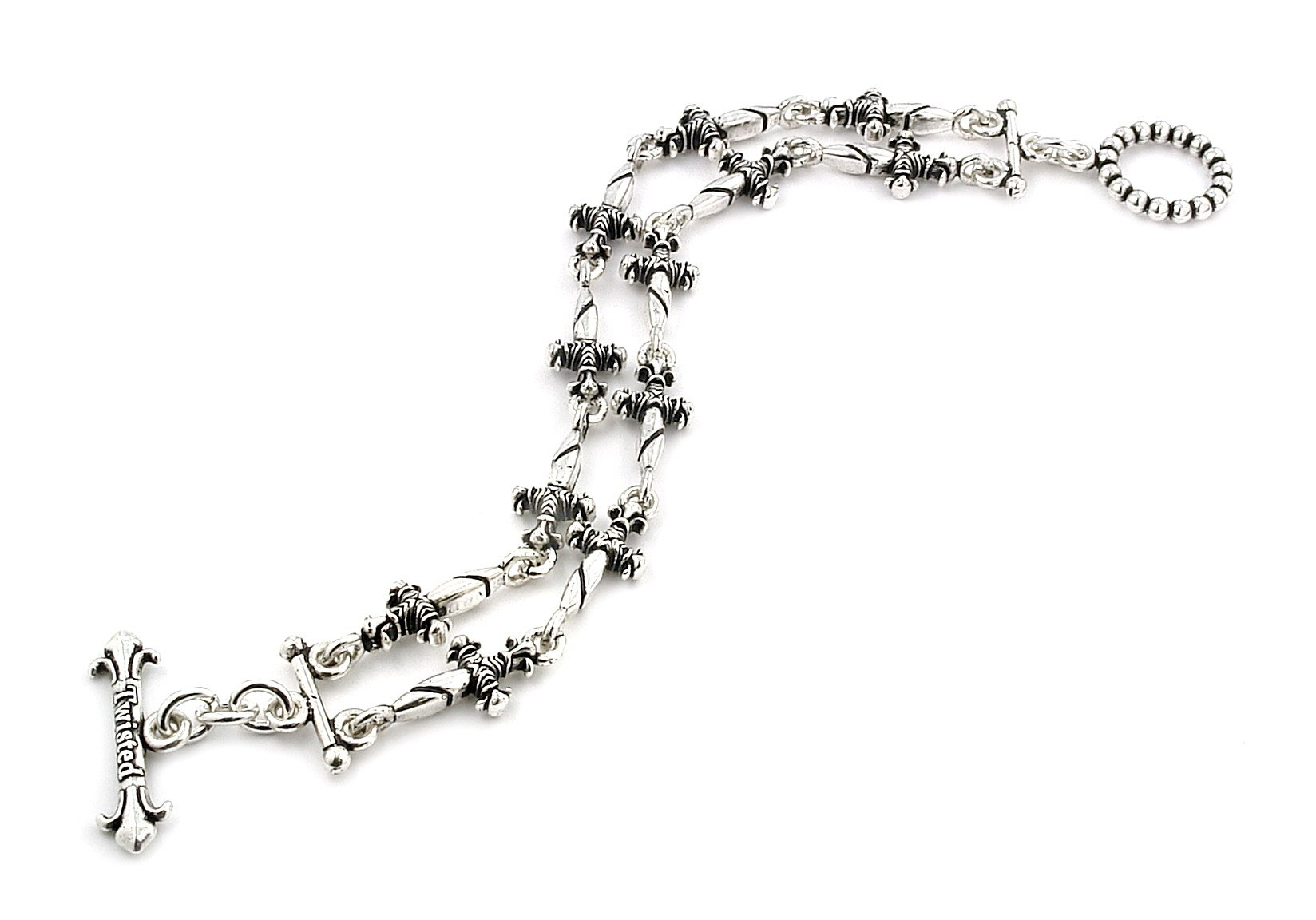 Twisted Blade 925 Sterling Silver 2 Row Small Dagger Link Bracelet 8.5''