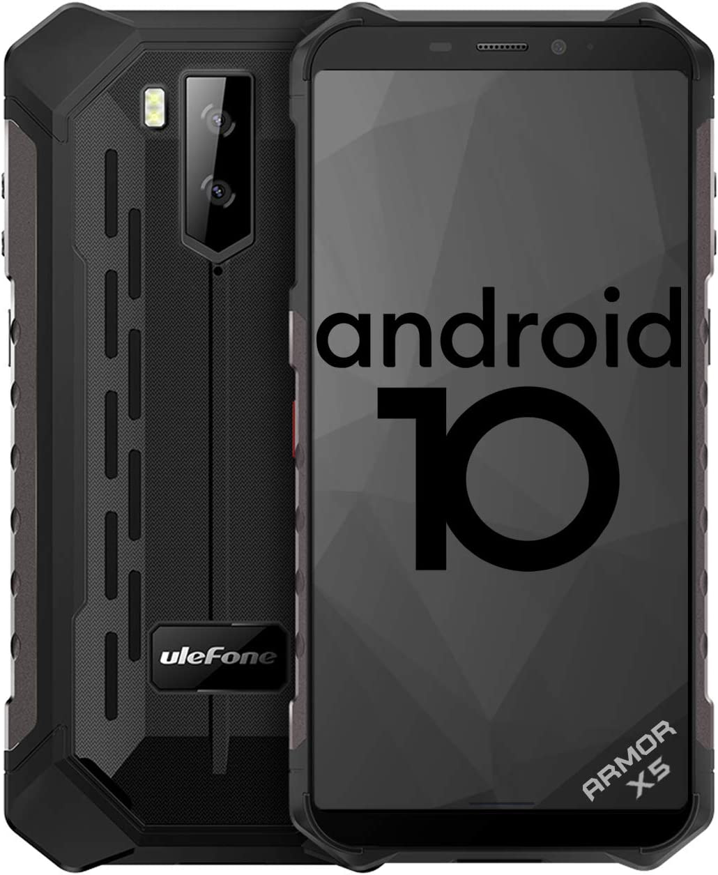 【2020】Telefono Móvil Libre Resistente,Ulefone Armor X5 Android 10 4G Octa-core 3GB+32GB - 5.5'' HD Resistente IP68 Impermeable Smartphone, Cámara 13MP+2MP,5000mAh batería, Dual SIM,GPS,NFC,OTG -Negro