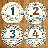 Baby Boy Month Stickers Monthly Baby Milestone Stickers Tribal Arrow Aztec Dream catcher Dreamcatcher Blue Brown Beige