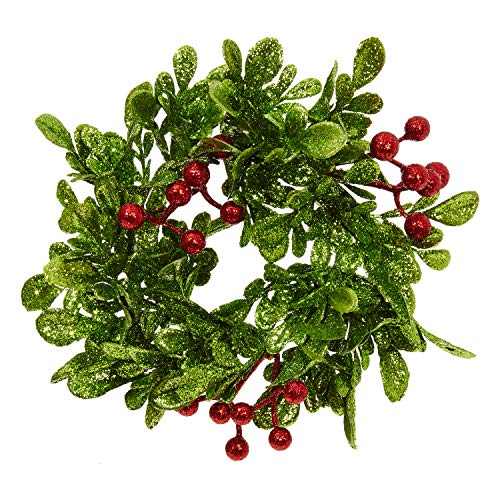 RAZ Imports Glittered Holly Berry 3 Inch Decorative Pillar Candle Ring ()