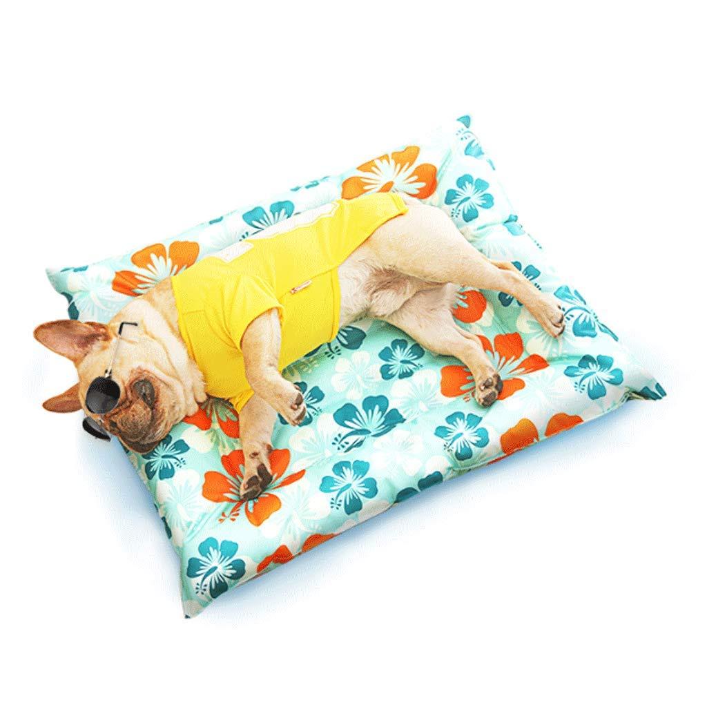 Pattern bluee (mosquito repellent) GJ Pet Nest Medium For Summer Ice Pad Medium Small Dog Pet Cat Litter Waterproof Cooling Mosquito Repellent Mat (color   Pattern bluee (mosquito repellent))