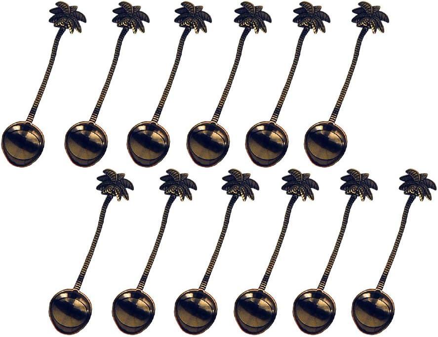 HENGRUI S/érie cr/éative Petite Cuill/ère de Noix de Coco Arbre Tropical Petite cuill/ère,4 pcs