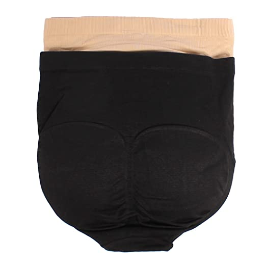 6bab09484be Padded Butt Lifter Panties 2 Packs (Black Beige) at Amazon Women s Clothing  store