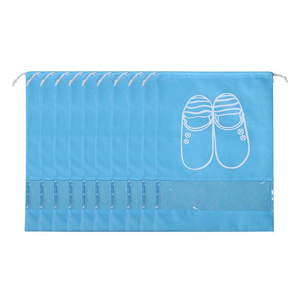 Kaimao 10 Pcs Portable Dust-proof Breathable Travel Shoe Organizer Bags Drawstring Multifunctional Shoe Storage Bag Pocket with Transparent Window for Men Women