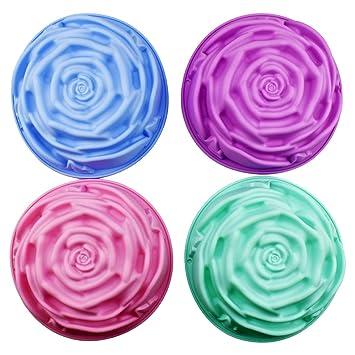 4 piezas de silicona grande forma de rosa molde de la torta diy jalea de chocolate dulce bandeja para hornear herramienta (24cm x 7.5cm): Amazon.es: Hogar