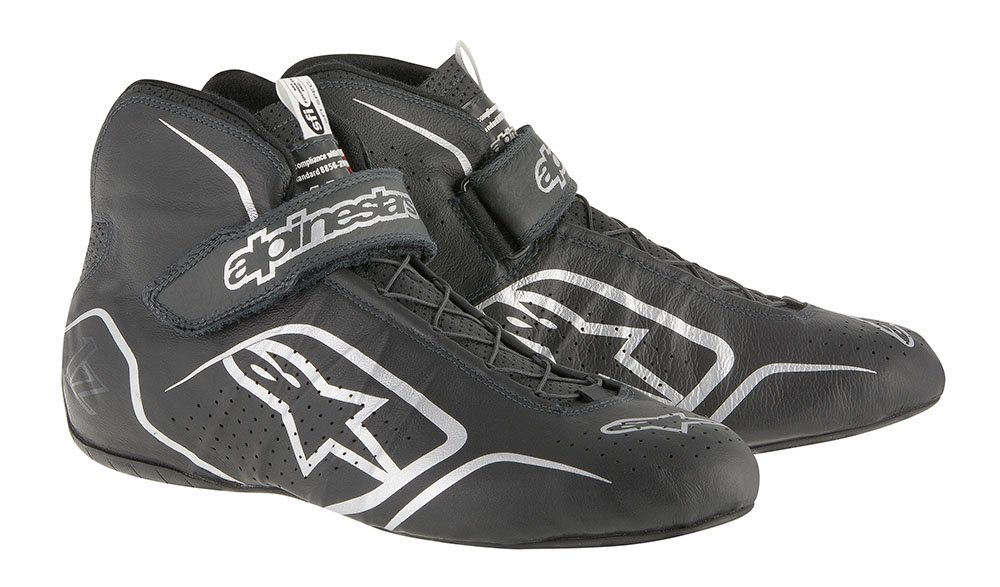 ALPINESTARS TECH 1-Z SHOES, BLACK/ANTHRACITE, SIZE 13, SFI 3.3 LEVEL 5/FIA, KANGAROO LEATHER