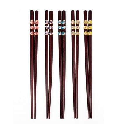 Palillos japoneses Naturaleza Palillos 5 pares de sushi palitos de sushi cubiertos de sushi, perfecto para platos asiáticos 24CM