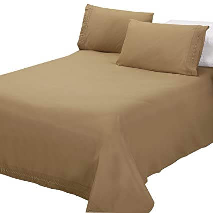 Jessy Home Sheets Queen Size Light Brown,Deep Pocket Bed Sheets,Premiere  1800 Collection