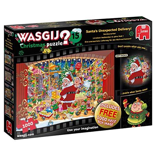 Jumbo 19172 Wasgij Christmas 15 - Santa's Treat 2 x 1000 Piece Puzzles Jigsaw, Multi