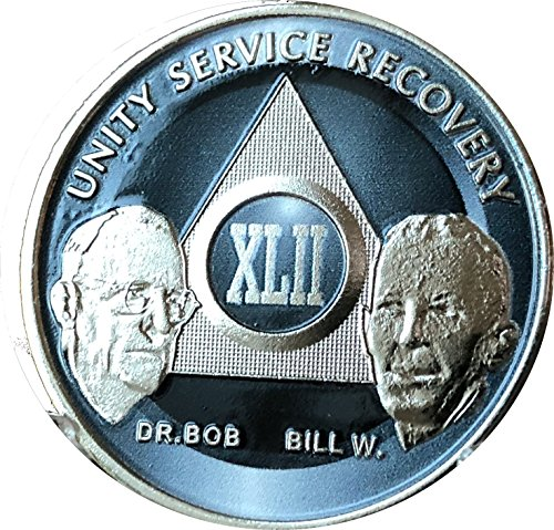 42 Year AA Founders Medallion Titanium Nickel Plated Anniversary Chip - 42 Collection Medallion