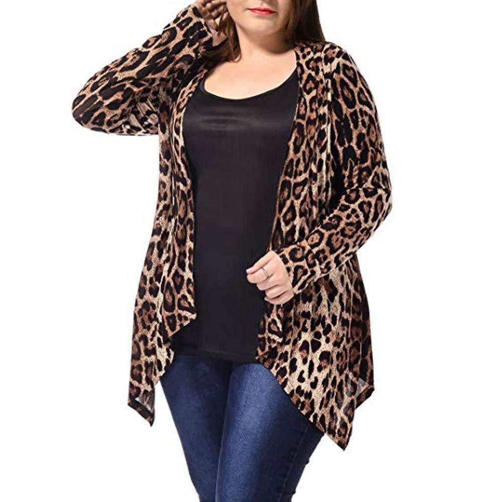 Liquidation/Plus la Taille Cardigans pour Les Femmes Manteau Chemise à Manches Longues imprimé léopard Wrap Blouse Manteau Sweat Tops Outwear