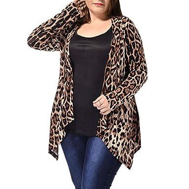 00b9c9e5a93fbe Damen Mantel Coat Übergröße Leopard Drucken Asymmetrisch Öffnen Vorderseite  Mode Strickjacke Mantel