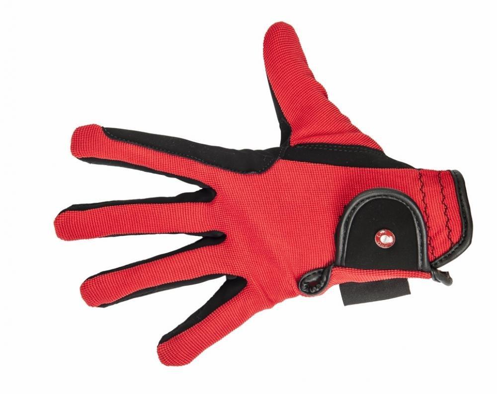 HKM Damen Reithandschuhe Professional Nubuk Lederimitat Handschuhe schwarz/Rot 6887