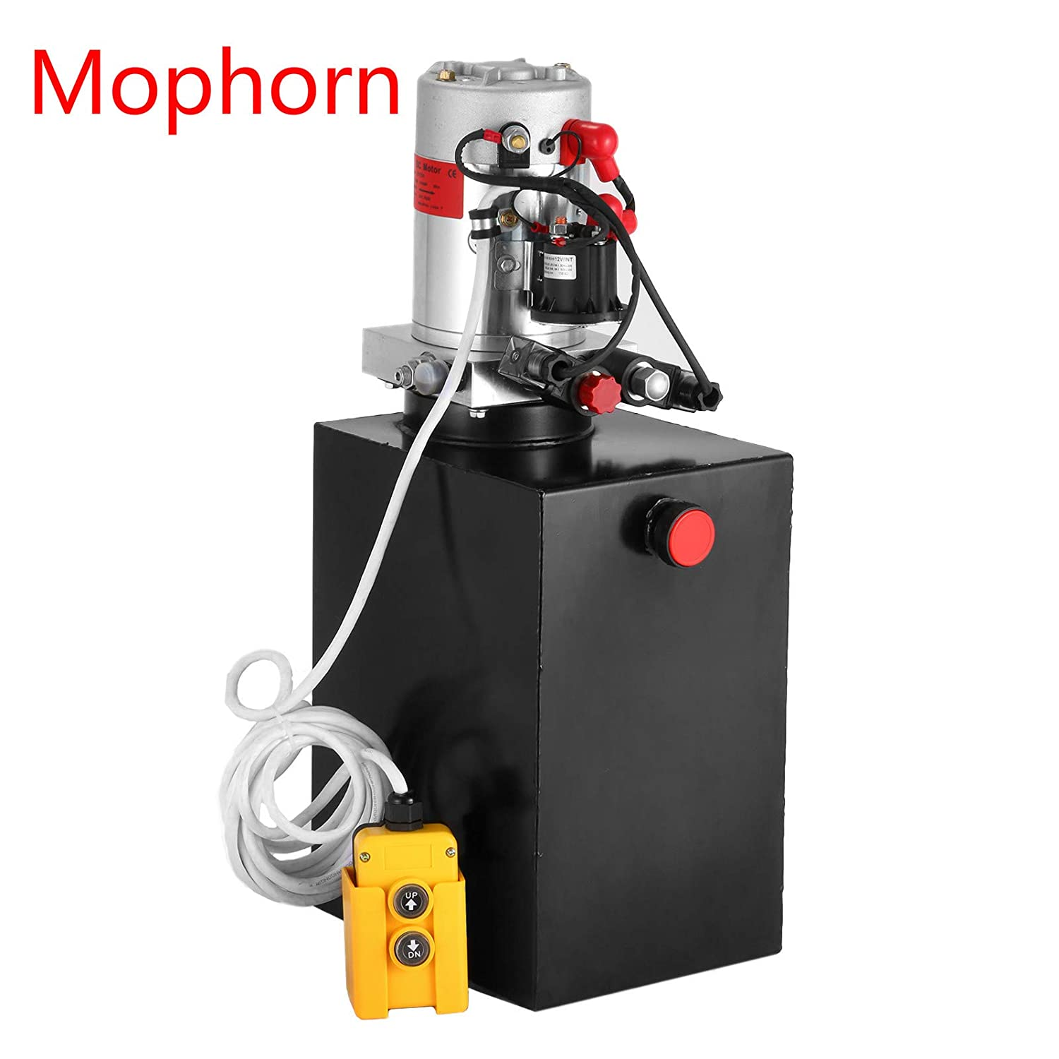 Mophorn 12V/DC Hydraulic Pump 15 Quart/ 3 9 Gallon Double Acting Metal  Reservoir Hydraulic Pump Unit Remotely Controlled for Dump Trailer (15