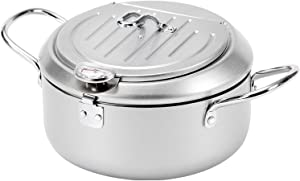 Tempura Frying Pan, 10 inch Deep Fryer Pot with Temperature Control, Carbon Steel Japanese Fryer Pot for Kitchen Home Cooking Chicken Legs, Dried Fish Tools (Silver)