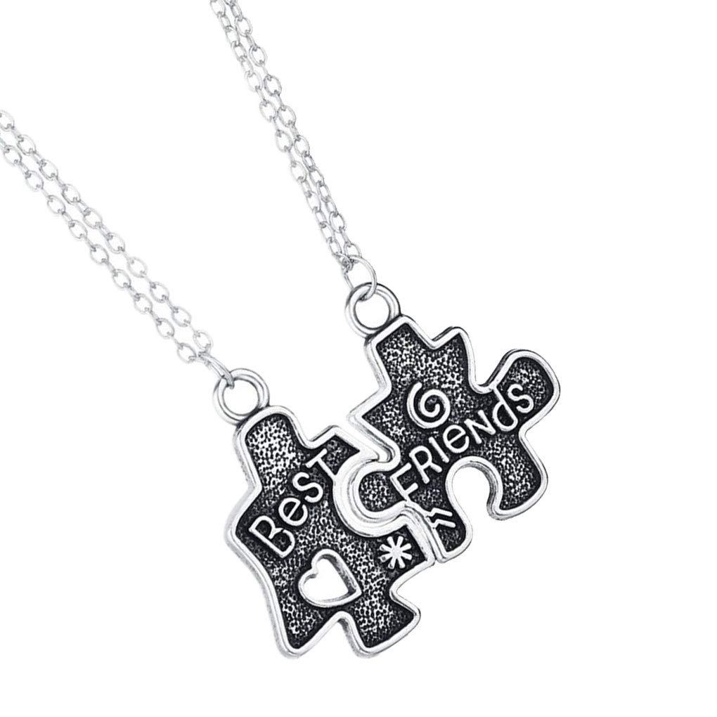 Beaums 2 pezzi Donne Ragazze Puzzle Collana Insieme Best Friends Puzzle maglione della collana della catena delle coppie degli amanti