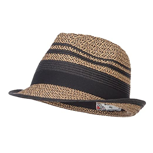 5b9ae285ccf Striped Tweed Paper Braid Fedora - Black OSFM at Amazon Women s ...