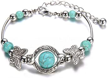 🍀 AIUSD Clearance 🍀, Natural Turquoise Carved Butterfly Pendant Bohemian Women's Bracelet Jewelry