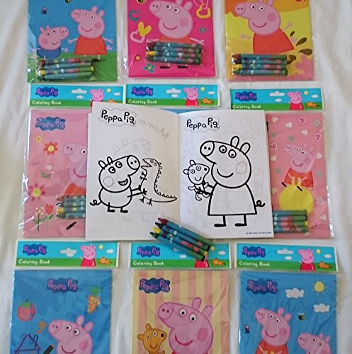 12 Sets of Peppa Pig Coloring Books and Crayon Set Kids Party Favors Bag Filler Supply ()
