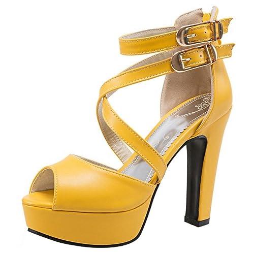 d97152991 RAZAMAZA Mujer Classic Tacones Altos Gladiador Sandalias Plataforma Chunky  Fiesta Zapatos  Amazon.es  Zapatos y complementos