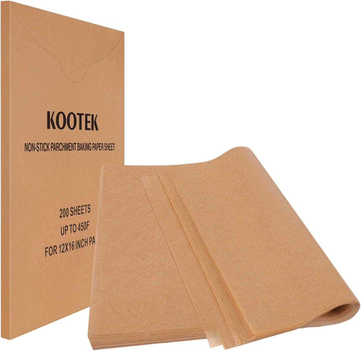 Kootek 200 Pcs Parchment Paper Sheets, 12 X 16 Inch Non-Stick Unbleached Baking Sheet Cooking Wax Papers, Pre-cut Square Liner for Grilling Air Fryer Steaming Cookie Cupcake Bakers