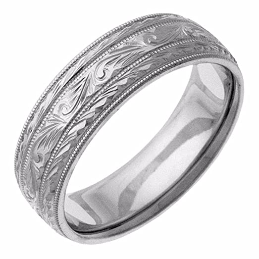 Hand Etched Platinum Paisley Wedding Band Ring