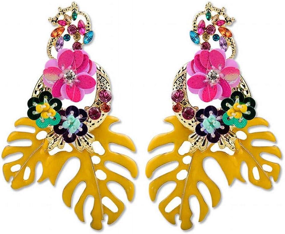 Yiiana Pendientes de gota Joyas para mujer Pendientes con lentejuelas Hoja de gota Pendientes de pelo con diamantes y flores Boho