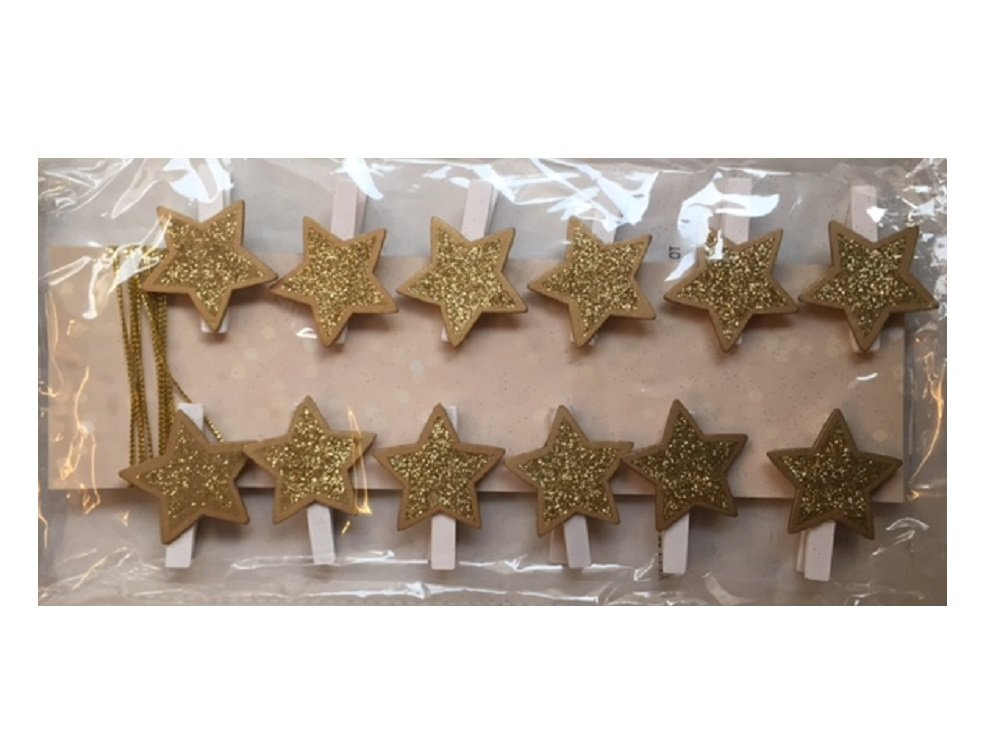 Christmas New Xmas Wooden Star Shaped Card Holder Pegs Pack of 12 - Gold