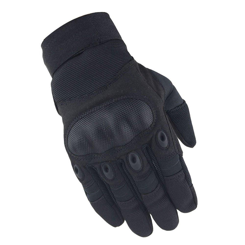 MilitaryグローブArmy Combat Gloves with Rubberハード指関節Airsoft Shootingオートバイのフル指Heavy Duty防水 B074KDJX8S  ブラック Medium