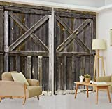 LB 2 Panels Rustic Home Décor Room Darkening Blackout Curtains,Vintage Style Wooden Door 3D Effect Print Window Treatment Curtains Living Room Bedroom Window Drapes,80 x 84 Inches