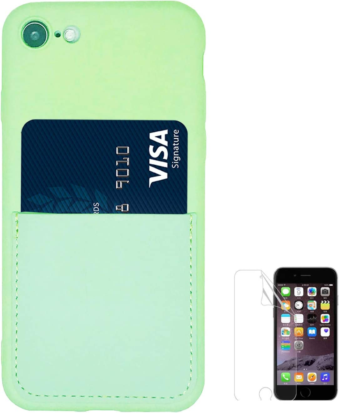 Oddss Silicone Case for iPhone SE 2020,for iPhon 7/8 4.7 inch Liquid Silicone Wallet Case with Card Holder Slot Soft Slim Cover Compaible iPhone 8/7, iPhone SE 2020 with Screen Protector (Mint Green)