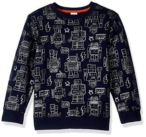 - Gymboree Boys' Toddler Pullover Sweatshirt Robot, Dark Marine, 2T
