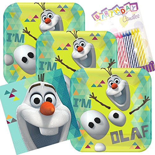 Lobyn Value Pack Disney Olaf Party Plates and Napkins Serves 16 With Birthday Candles -