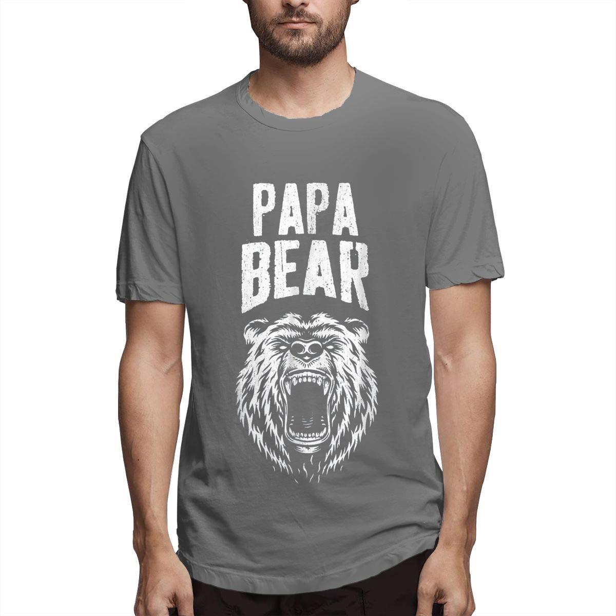 Jianju S Printed Sweaty Papa Bear Funny Father S Day Short Sleeve Fashion T Shirts Black