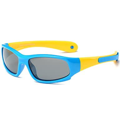 193e5373b2f SojoS Kids Rubber Flexible Polarized Sunglasses for Baby Age 3-8 SK207 With  Blue and