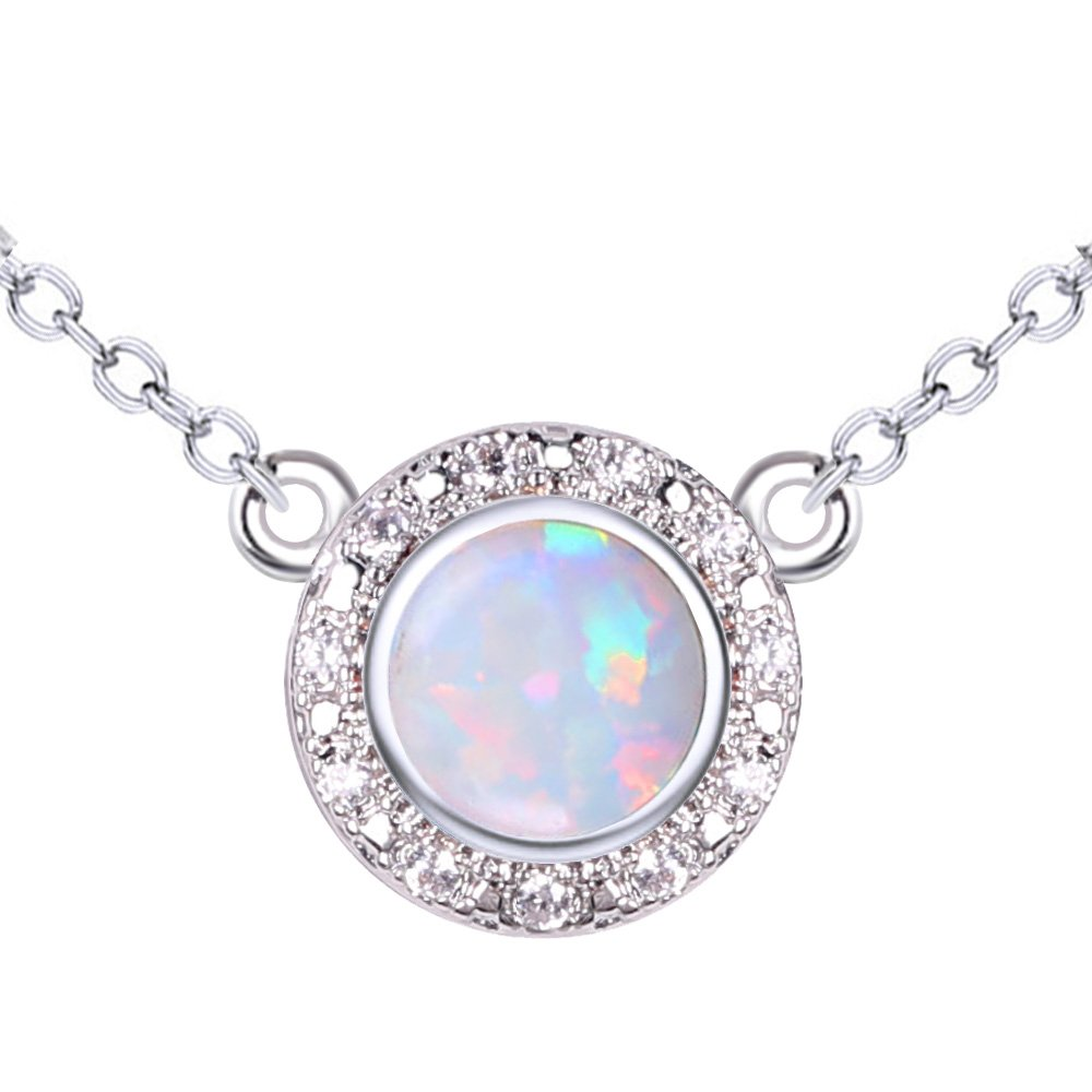 KELITCH Initial Choker Necklace Syuthetic Opal & CZ Oval Pendant with 16-18'' Chain (White)