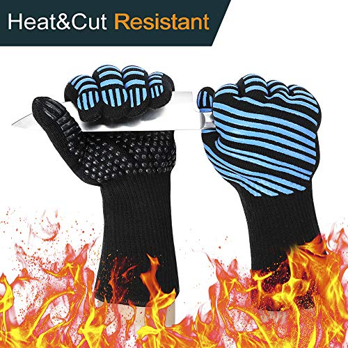 932℉ Extreme Heat Resistant BBQ Gloves, Food Grade Kitchen Oven Mitts - Flexible Oven Gloves with Cut Resistant, Silicone Non-slip Cooking Hot Glove for Grilling, Cutting, Baking, Welding (1 pair) ()