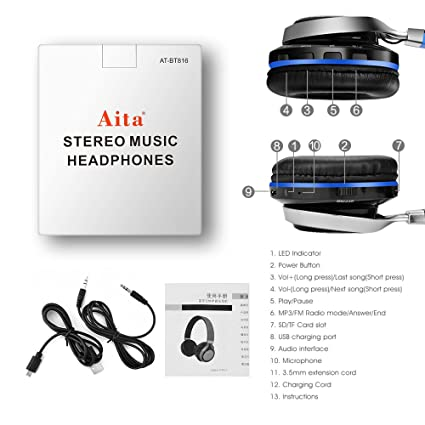 Amazon.com: Aita Bluetooth Headphones Wireless Headset, Foldable On ear Headphones with FM Radio, Microphone, TF Card Reader and LED lights for iPhone ...