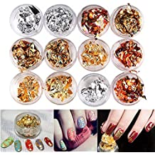 MEILINDS 12 Boxs Nail Art Foil Sticker Gold Silver Acrylic Paillette Flake Chip DIY Decals Decoration