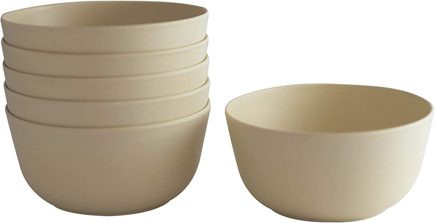 Natura Green- Bamboo Bowls- Set of 6-20 oz. (600 ml) each (Ivory White)