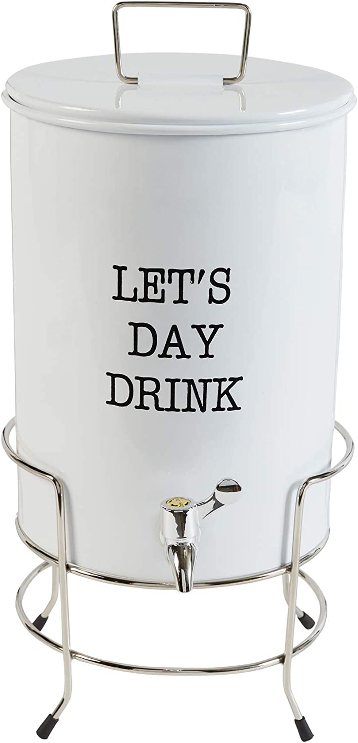 Mud Pie Farmhouse Inspired Beverage Pitcher Let's Day Drink Dispenser with Stand, White