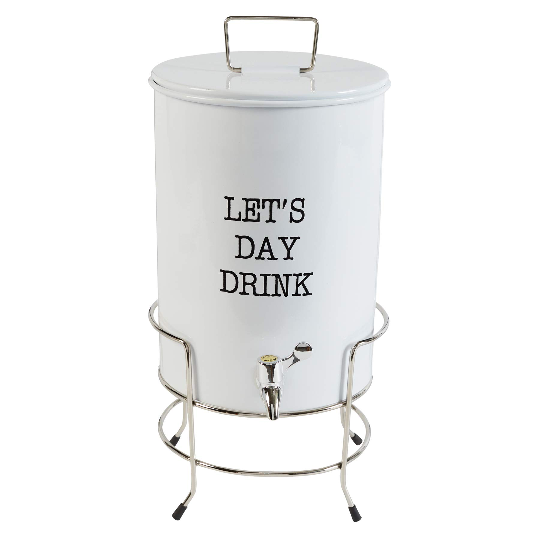 Mud Pie Farmhouse Inspired Beverage Pitcher Let's Day Drink Dispenser with Stand White