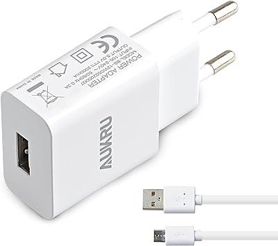 Aukru 5V 2A Cargador con Micro USB Cable para Samsung Galaxy/Sony/HTC/Nokia/Huawei/ASUS/Motorola/Blackberry/Otros Dispositivos Android etc: Amazon.es: Electrónica