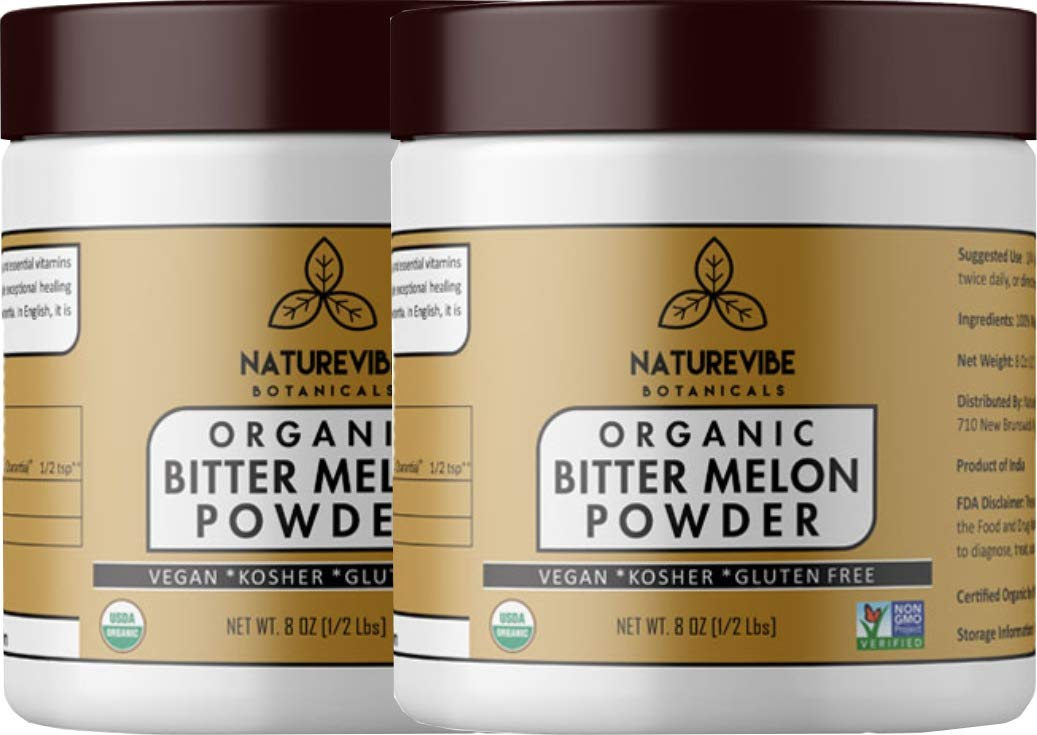 Naturevibe Botanicals Organic Bitter Melon Powder (16oz) (2 Pack of 8oz Each) - Momordica Charantia   Non GMO & Gluten Free   Herbal Supplement   Supports Immunity System [Packaging May Vary]