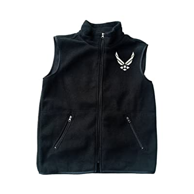 Airforce Wing Black Fleece Zipped Vest with Pocket