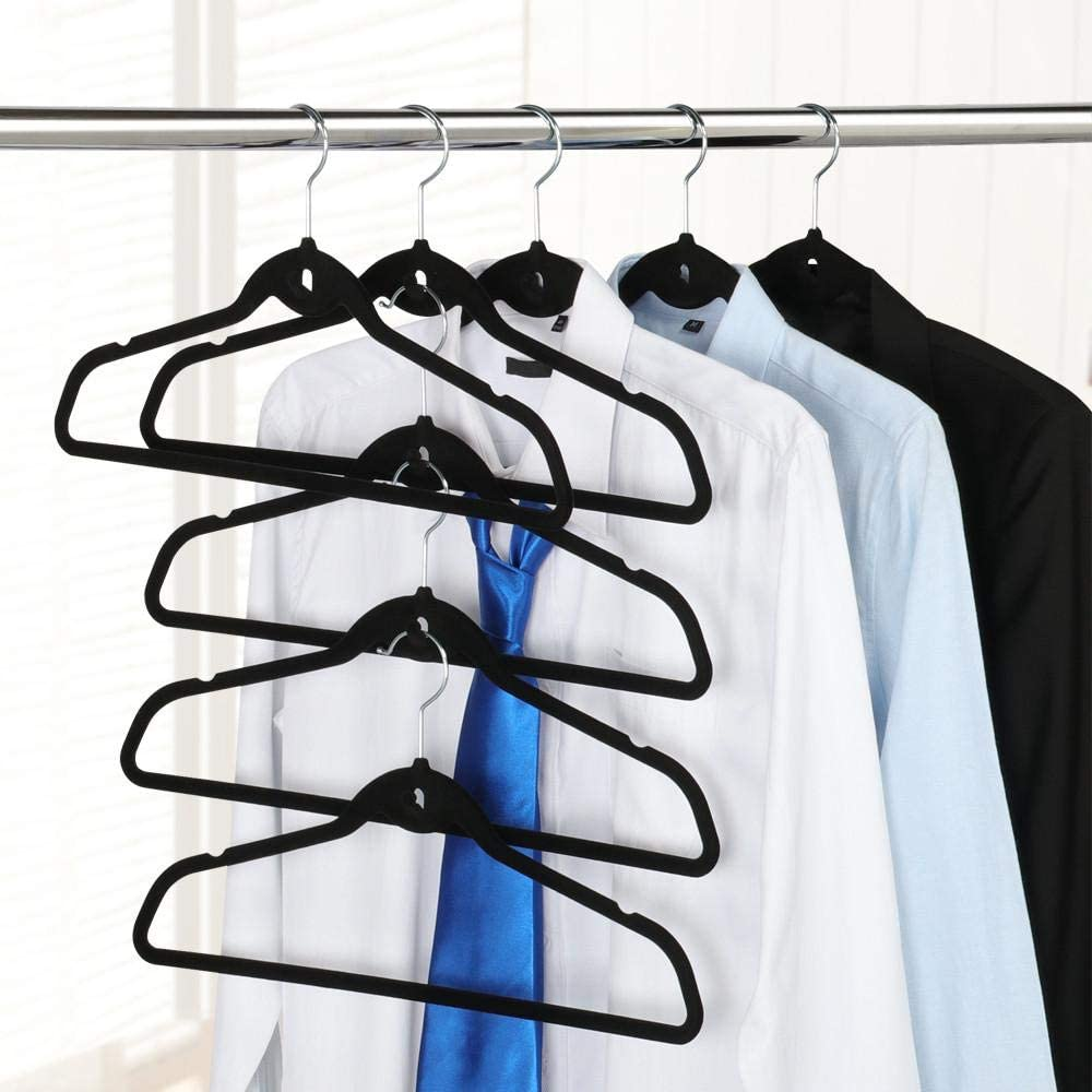 20PCS Non-slip Velvet Hangers Clips Clothes Pegs Flocked for   Coat Laundry Pant