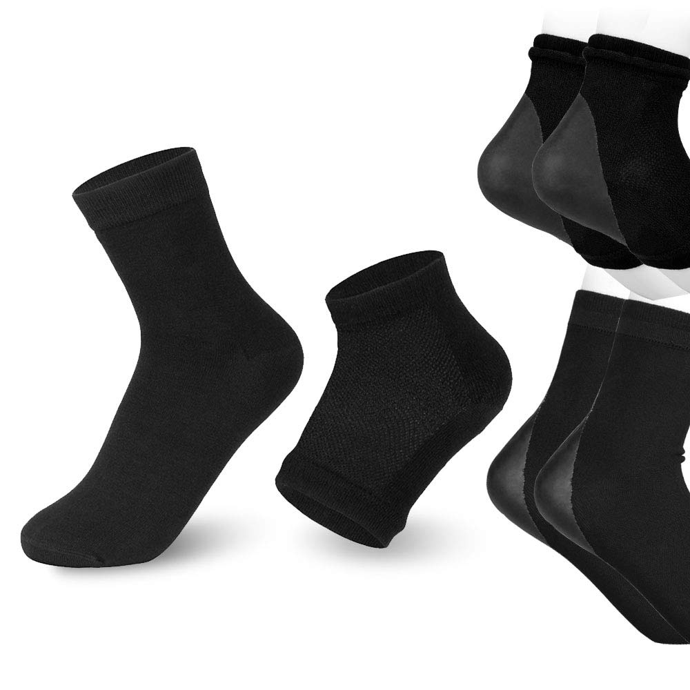 Moisturizing Silicone Gel Heel Socks, Zingso 3 Pairs Cotton Open Toe Heel Moisture Socks Foot Spa Soft Ventilate Moisturizing Gel Heel Socks for Night Foot Care Dry Hard Cracked Skin