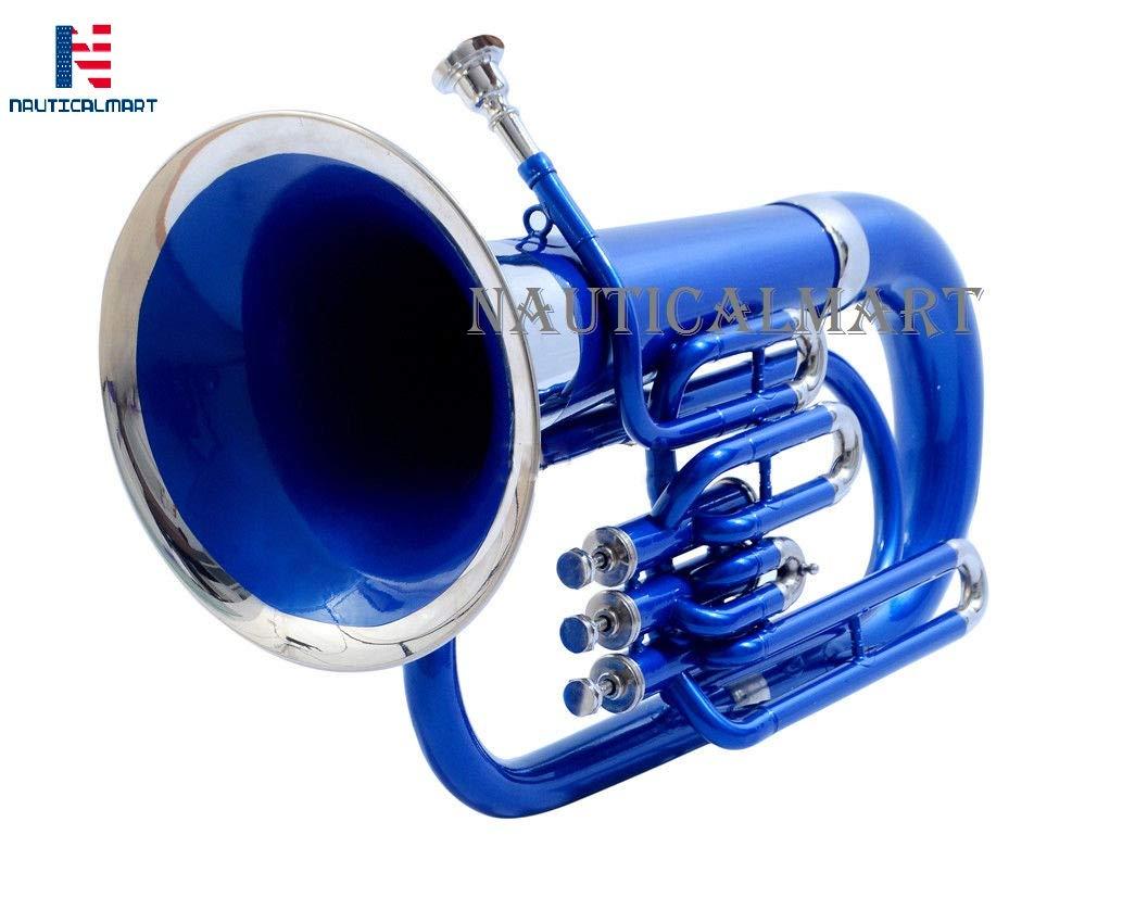 NauticalMart Brass Bb Euphonium 3 Valve - Blue Shade